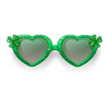 Green Clover Heart-Shaped Glasses