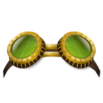 Green Steampunk Goggle Glasses