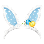 Blue Easter Bunny Ears with Decor
