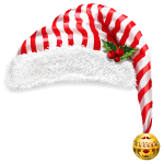 Red and White Striped Santa's Hat