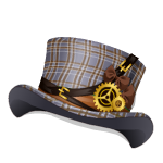 Animated Tartan Steampunk Lady Top Hat