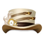 White Steampunk Top Hat With Feather