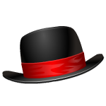 Black Bowl Hat with Red Ribbon