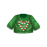 Green Sweater with Candy Cane Heart