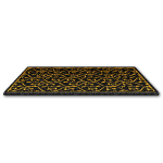 Black Plush Carpet with Gold Pattern