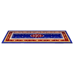 Blue and Red Persian Rococo Inspired Carpet