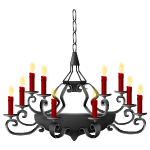 Chandelier with Red Candles