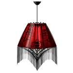 Red Fringed Hanging Lamp