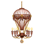 Copper Steampunk Hot Air Balloon Chandelier