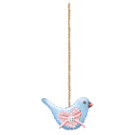 Blue Patchwork Bird Decor