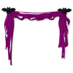 Purple Tattered Curtain with Bats