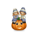 Animated Harvest Kids on Pumpkin