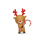 Animated Baby Reindeer with Candy Cane