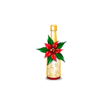 Champagne Bottle with Poinsettia Decor