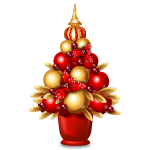 Designer Gold and Red Ball Tree