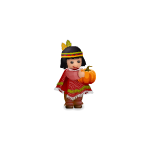 Native girl with pumpkin plushie