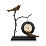 Table Clock with Birds Sculpture
