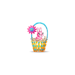 Easter Basket with Pink Bunny