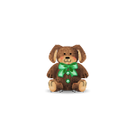 Emerald Bow Dog Plushie