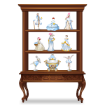 Wooden Cabinet with Porcelain Dolls