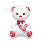 White Valentine's Day Bear with Heart