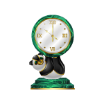 Malachite Clock with Panda