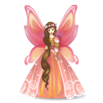 Orange Butterfly Princess Figurine