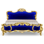 Blue and Gold Rococo Bed
