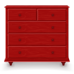 Red Wooden Chest Of Drawers