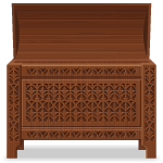 Open Carved Wooden Chest