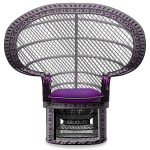Grey Peacock Wicker Chair