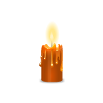 Orange Melted Burning Candle