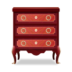 Red Wooden Bedside Table
