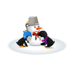 Little Penguins Building Snowman