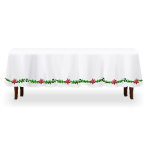 Table with White Poinsettia Tablecloth