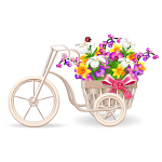Tricycle Planter with Spring Flowers