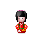 Japanese Doll in Red Kimono