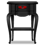Black Gothic Side Table with Red Decor