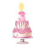 Pink Three Years Old Birthday Cake