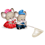 Two Mice with Hand Net