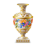 Vase with Blue Flowers and Gold Ornament