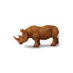 Hand Carved African Rhino