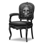 Angled Black Chair with Skull