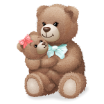 Mom Bear Plushie with Baby