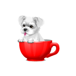 Animated Terrier Puppy in Cup