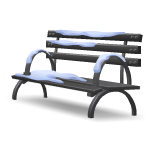 Angled Snow Covered Bench