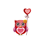 Valentine's Girl Owl with Balloon