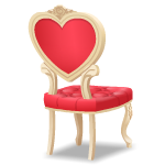Backfacing Elegant Chair with Red Cushions