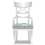 White Chair with Floral Cushion
