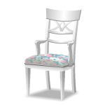Angled White Chair with Floral Cushion